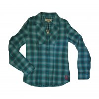 Tom Tailor doubleface check blouse türkis